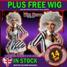 HALLOWEEN FANCY DRESS ~ LADIES SEXY MISS BEETLEJUICE COSTUME + WIG XS 6-8
